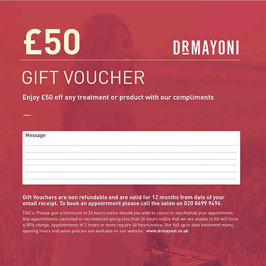£50 Gift Voucher The Clinic by Dr Mayoni