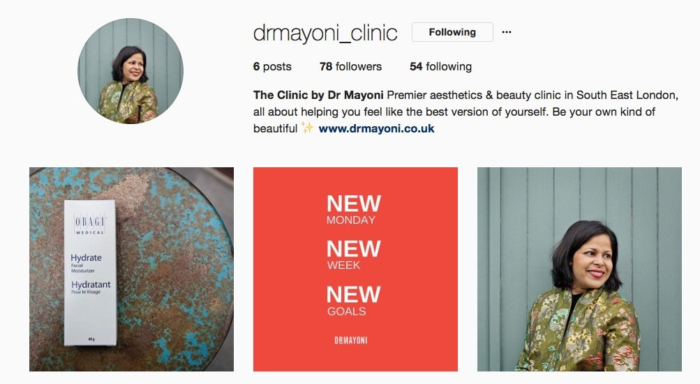 My shiny new Instagram account! The Clinic by Dr Mayoni