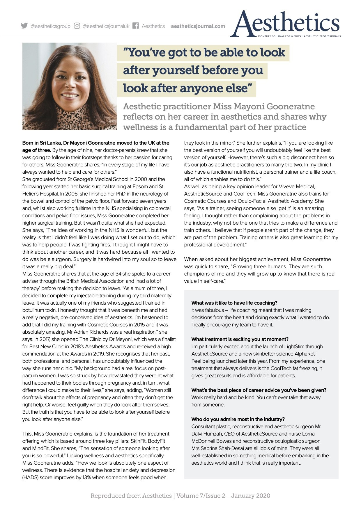 Dr. Mayoni profiled in Aesthetics Journal Magazine The Clinic by Dr Mayoni